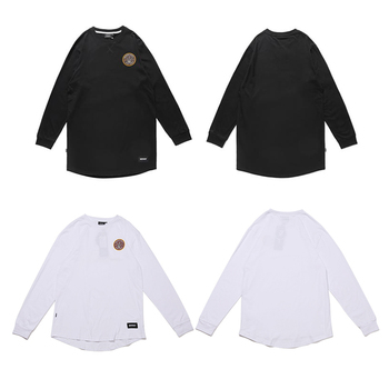 Wholesale Cheap organic clothing Hip Hop Black Custom logo Mens Long Sleeve T Shirts