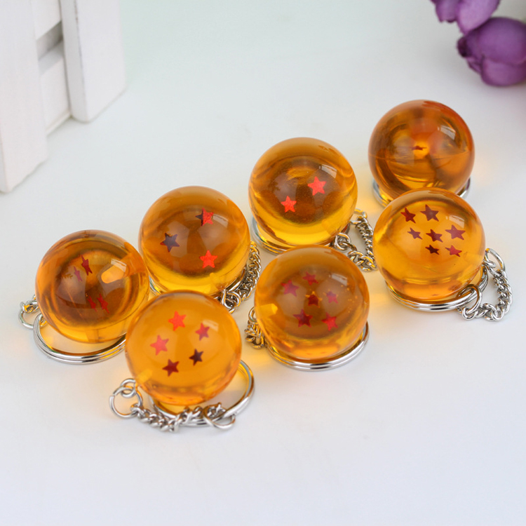 Cartoon anime dragon ball <strong>Z</strong> keychain child DBZ cosplay dragonball with <strong>1</strong>- 7 stars crystal ball keyrings resin pendant key holder