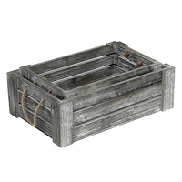 Set of 2 Gray Rustic Wooden Crate