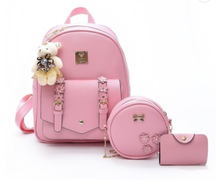 2019 New Arrival Wholesale Fashion Lady Backpack Bag Set With Free Purse And <strong>Key</strong> Holder 3pcs in 1 backpack set