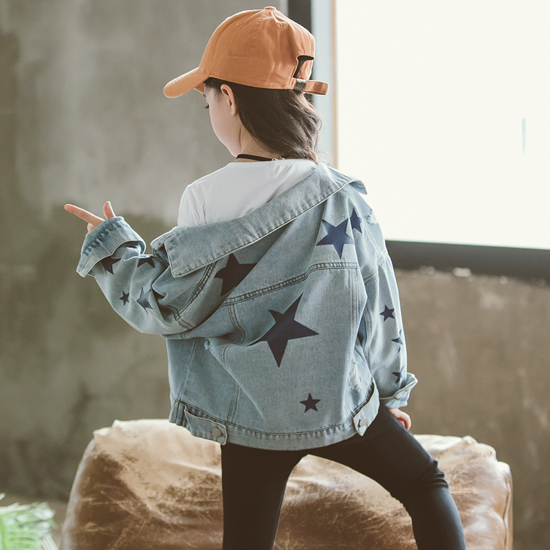 Factory supply new design fashion wholesale cotton casual kid girls star pattern jackets