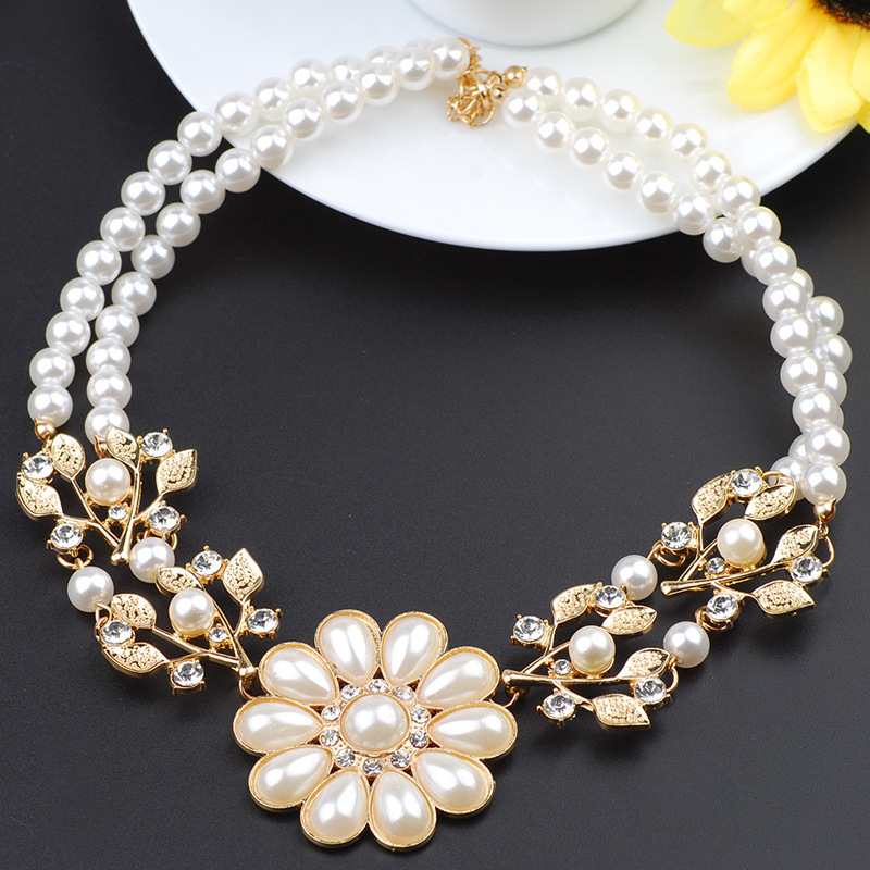 Promo Europe and America Fashion Strand Pearl Jewelry Necklace