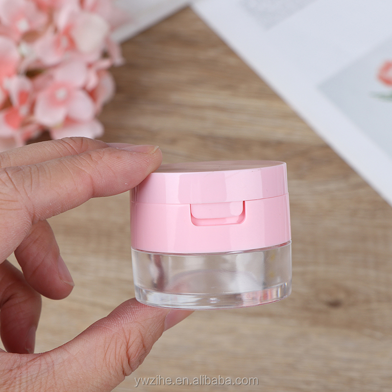 Portable Plastic Powder Box Empty Loose Powder Pot With Sieve Mirror Cosmetic Sifter Loose Jar Travel Makeup Container
