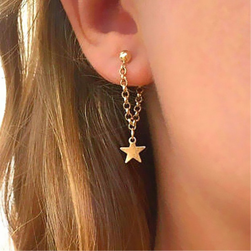 New Fashion Gold Star Moon Shape Earrings Simple Ear Ring Ethnic Jewelry Gift Crystal Round Geometric Earrings