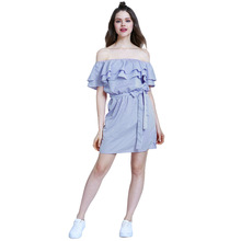 Summer Girls Bandage Striped <strong>Party</strong> <strong>Dress</strong> Sexy Cute Ruffles Shoulder-Off Mini Skirt Women Striped <strong>Dresses</strong> Vestido