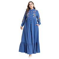 Hot Sale Wholesale Plus Size Clothing Pockets Embroidery Button Swing Muslim Elegant Maxi Long Dresses Women