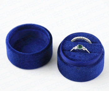 Custom logo round wedding velvet ring box and outer box,ring boxes jewellery,o-ring boxes