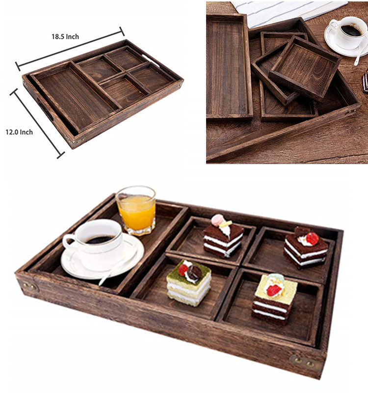 7-Piece Rustic Paulownia Wooden Nesting Serving Trays Set with Cutout Handles