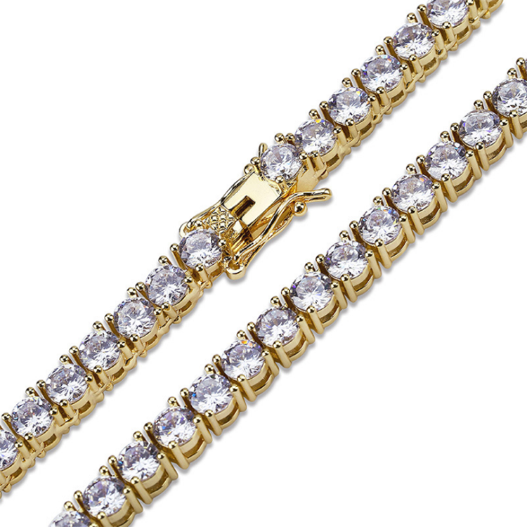 5mm 18k Gold Plated Mens CZ Diamond Necklace Iced Out Tennis Chain