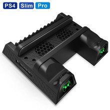 PS4 Dual Controller Charger Console Charger Stand Vertical Cooling Charging Dock Station for <strong>Playstation</strong> 4