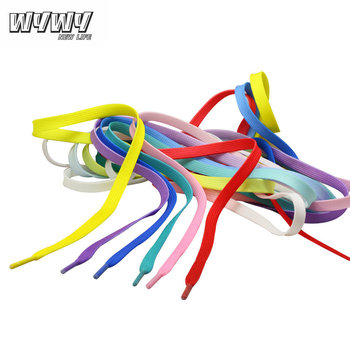 Promotional Custom Color Printed Flat Polyester Tube Rainbow Shoelace with Transparent Shoelace Tips