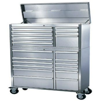 Stainless steel tool chest used in garage