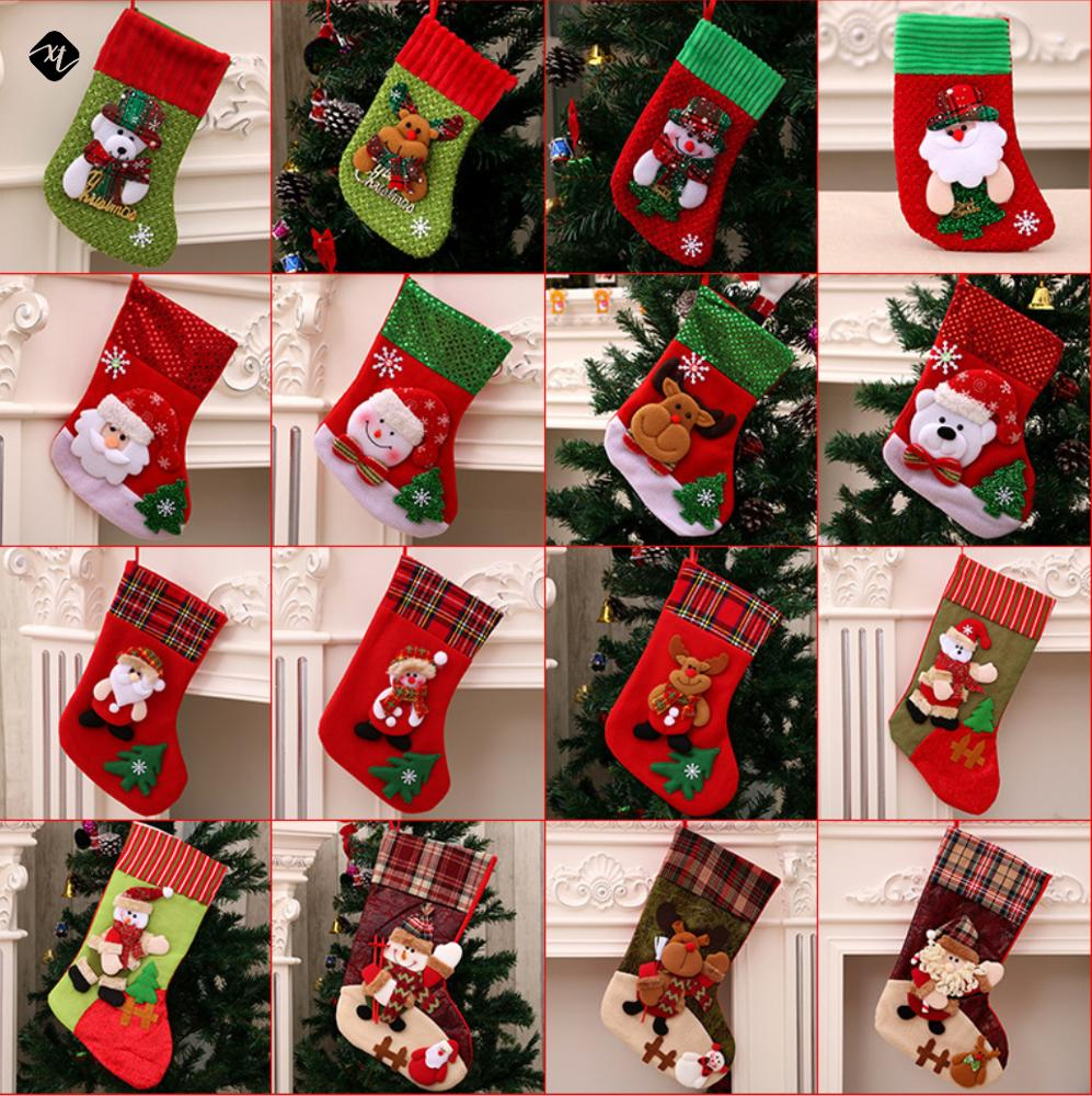 Christmas Lint Embroidered Christmas Stocking Socks Gifts Candy Hanging Bag Santa Claus Snowman Hotel Home <strong>Decoration</strong>