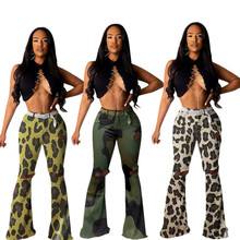 M7010 best seller camouflage hole mid waist bell-bottoms Sexy flare Pants For Women