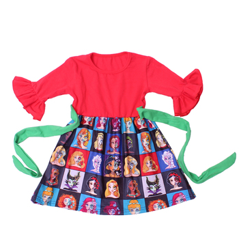 Children winter clothes toddler smocked dress cartoon baby frock design with waist bow design birthday party dress latest