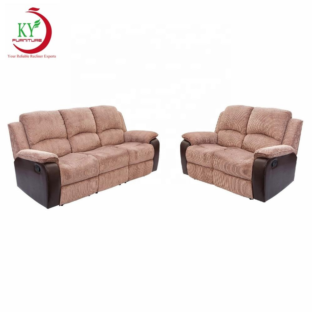 JKY Furniture <strong>3</strong> Pieces Recliner Sofa Sets Fabric Match Bonded Leather Lounge Chair Loveseat Reclining Couch for Living Room