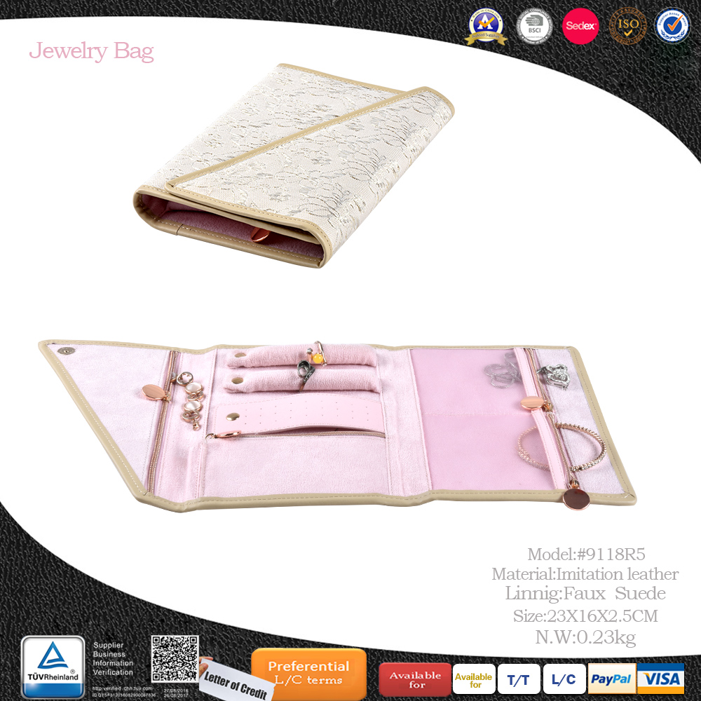 wholesale custom best leather travel jewelry organizer roll pouch