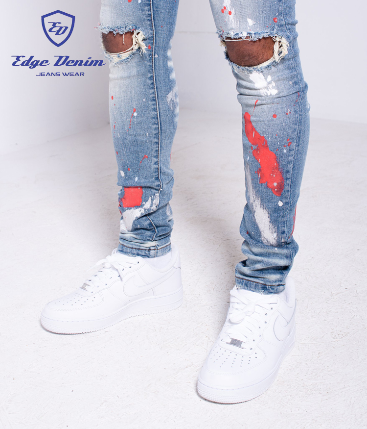 Edge Denim China Factory Summer Autumn Men Stretchy Destroyed Red Paint  Denim Jeans Pants Fashion Skinny Fit