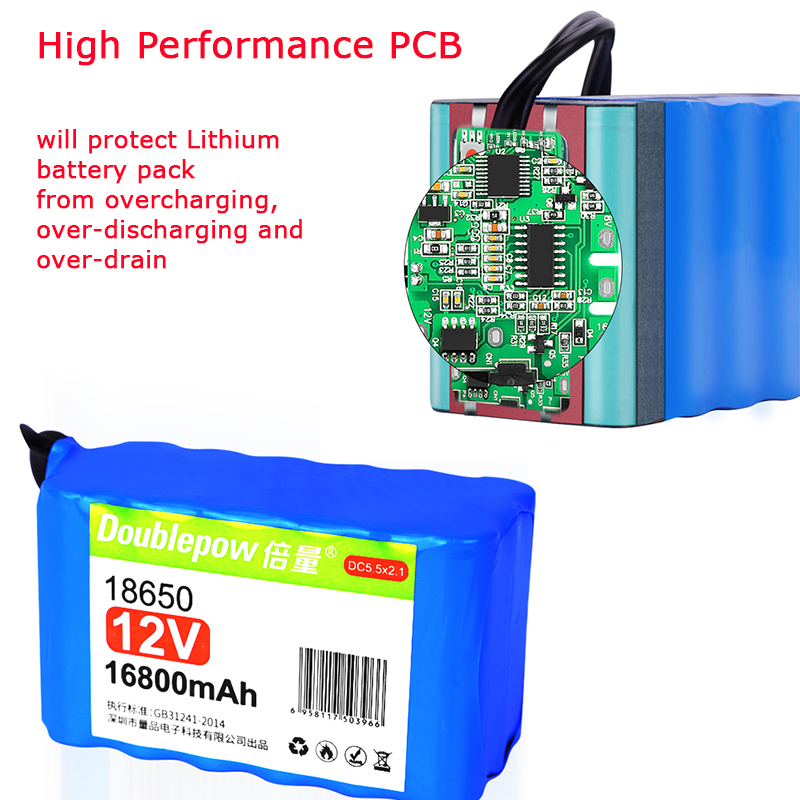 Factory supply DIY 12V 24A 3S6P 7S2P 7S3P 7S4P 18650 lithium li ion battery pack with PCB and DC connector