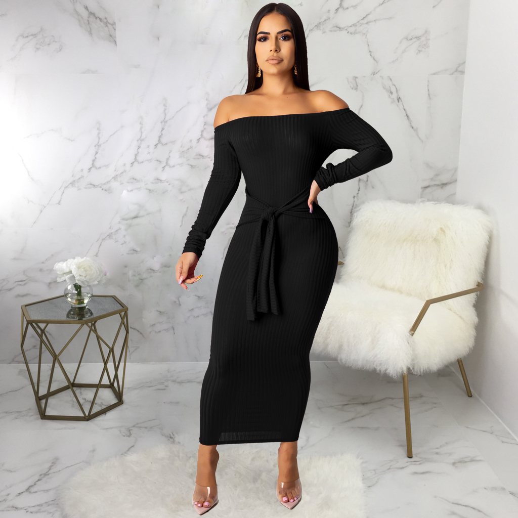 contrast color maxi long sleeve casual dresses sexy women party