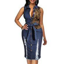 91031-MX73 sehe fashion summer sleeveless leopard print denim women dresses
