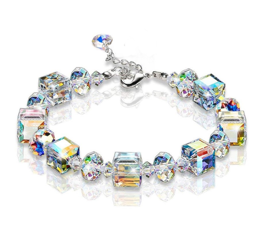 2019 New arrivals women fashion square crystal luxury AB color exquisite bead bracelet elastic adjustable bracelet <strong>jewelry</strong>
