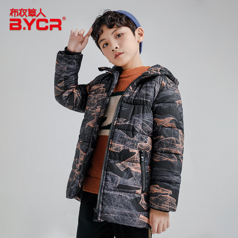 In stock abstract printing kids coats warm jacket boy winter 2019