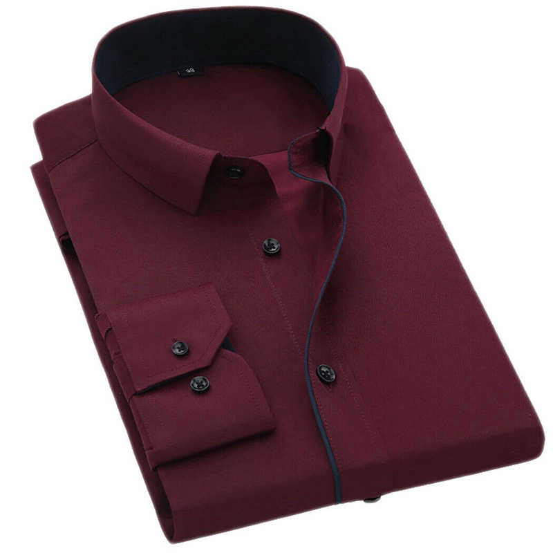 New Men's Shirts  Solid Colour Formal Slim Fit Shirt Top Long Sleeve