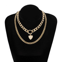 Hot style best-selling necklace heart phase box multi-layer alloy fashion sweater chain women