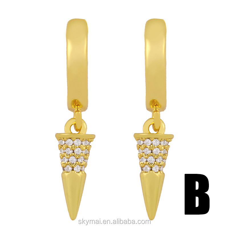 Fashion creative micro-inlaid zircon earrings rivet conical earrings female hip-hop earrings jewelry