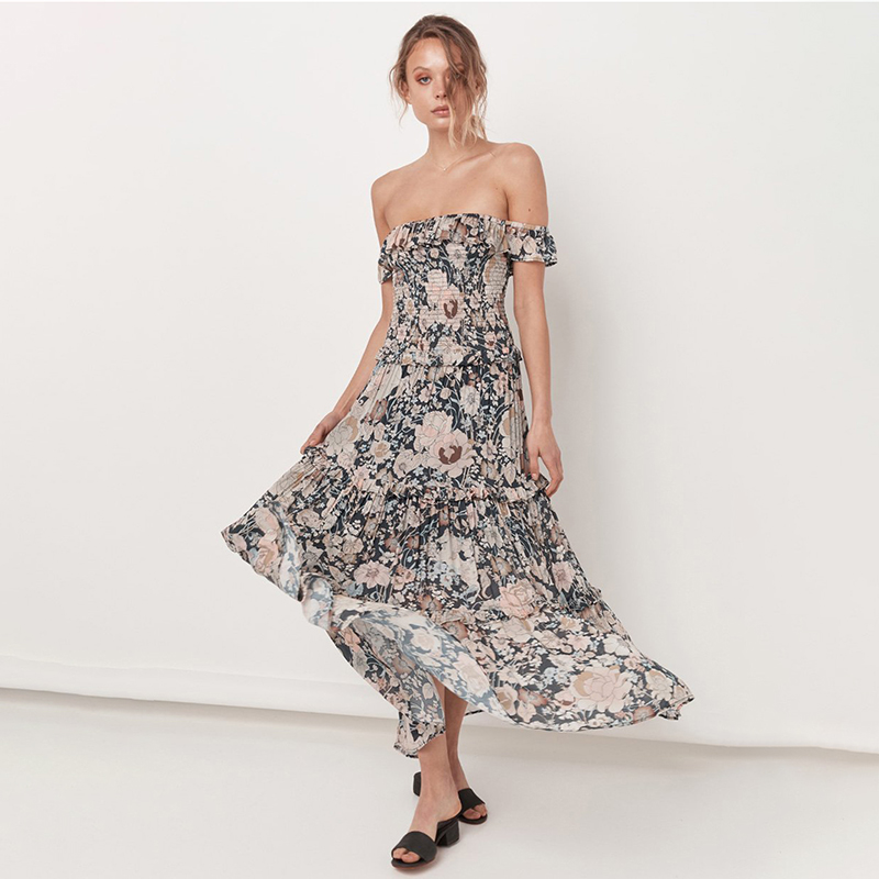Lady Summer African Women Off Shoulder Floral  Evening For Dresses