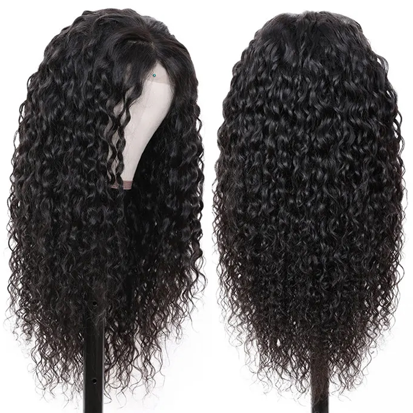 150 Density Brazilian Water Wave Lace Front Human Hair Front Lace Wigs With Baby Hair Pre Plucked Natural Hairline Remy
