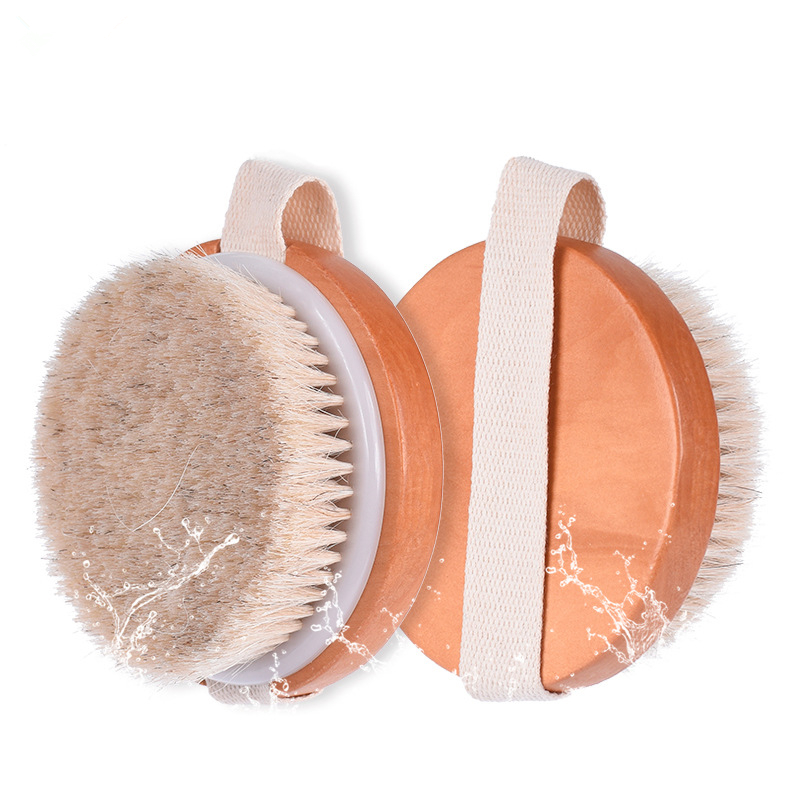 round horse hair bath brush natural body bath brush