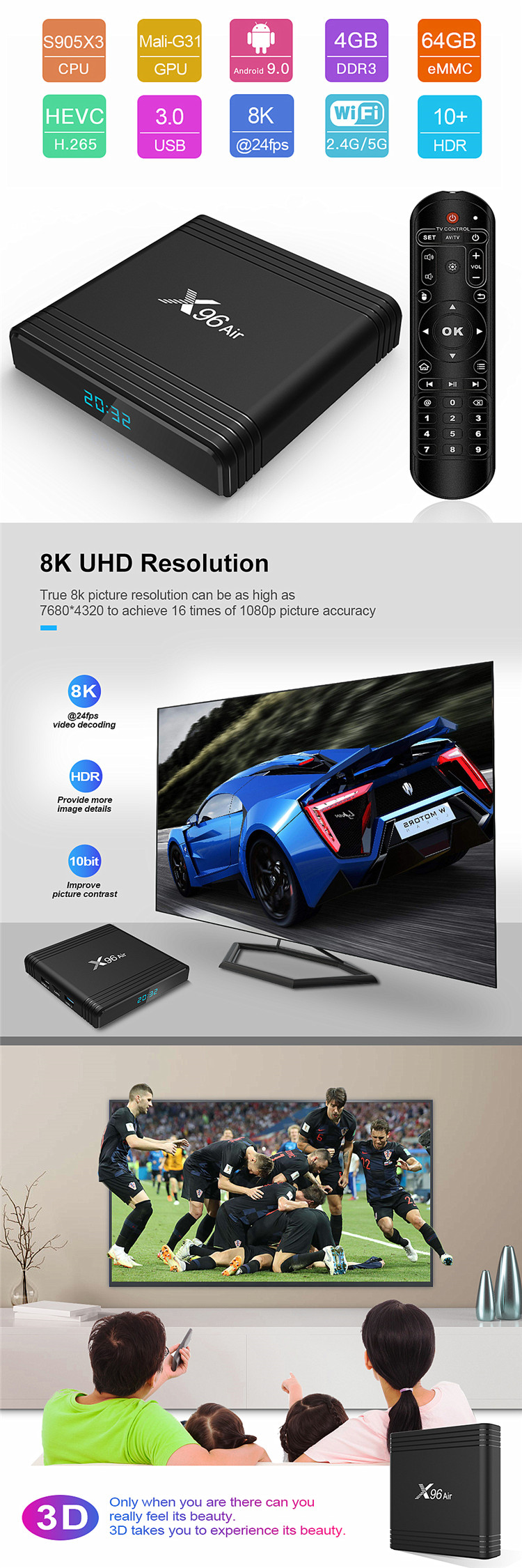 New Product X96 Air S905X3 set top 9 smart google certified 4K iptv android box tv