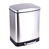 Home Kitchen 24L Stainless Steel Double compartment segregation trash garbage can waste bin