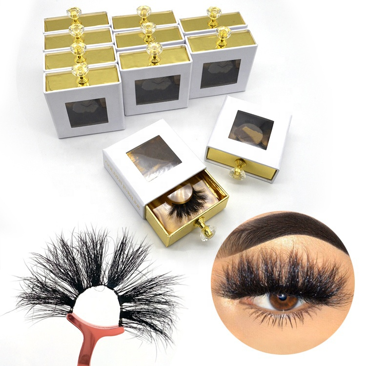Bulk Fluffy Luxury Vegan Eyelashes Packing Box 25MM 27MM 3D 5D 6D Private Label Real Mink Individual Lashes