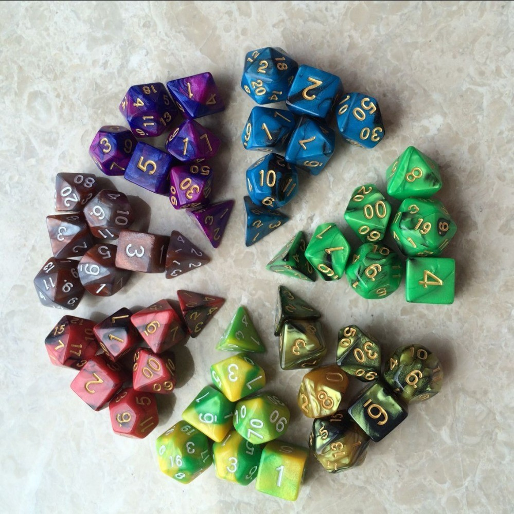 New 7pc/lot dice set High quality Multi-Sided Dice with marble effect d4 d6 d8 d10 d10 <strong>d12</strong> d20 DUNGEON and DRAGONS rpg dice game