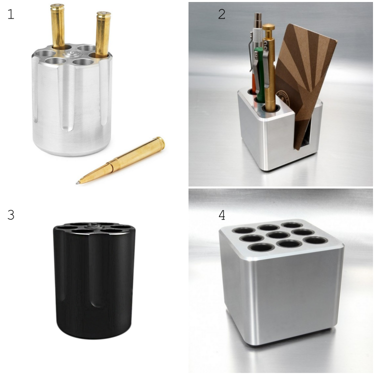 Unique Revolver Gun Cylinder Stylish  Aluminium Alloy Multifunctional  Pencil Holder Office Solid Paper Weight