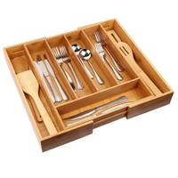 Manufacturers adjustable expandable natural bamboo kitchen drawer divider silverware organizer cutlery tray for utensils make up