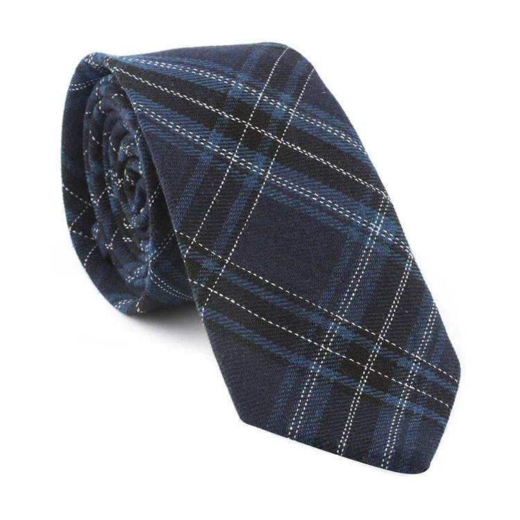 High Quality Mens Navy Skinny Cotton Tie