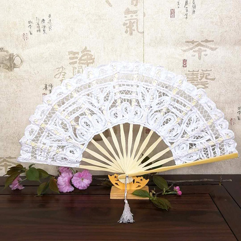 [I AM YOUR FANS]Wedding favors 21cm 27cm lace folding foldable hand <strong>bamboo</strong> fan with tassel