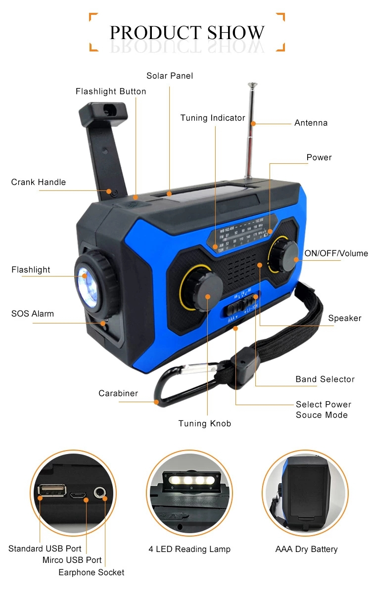 Emergency Portable Solar Dynamo Crank Wind Up FM AM NOAA Survival Radio