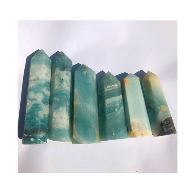 New arrival natural blue sky tower quartz caribbean calcite crystals <strong>point</strong> for Home Decoration