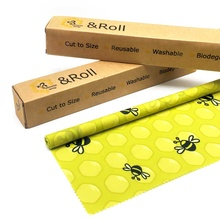 Sustainable reusable food packaging cut to size beeswax wrap <strong>roll</strong> 1 meter