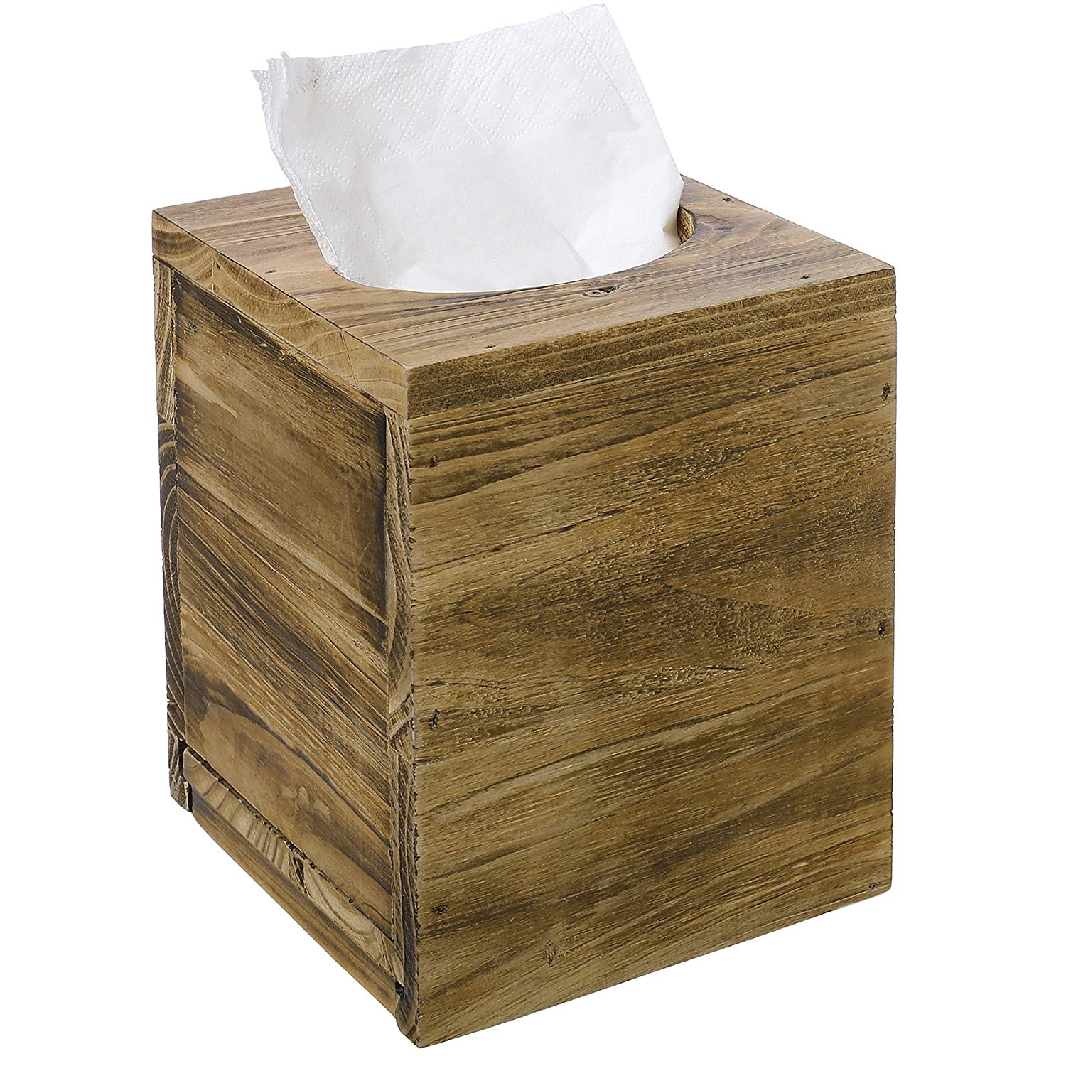 Office home decoration Rustic Distressed Square wooden Tissue Box Cover