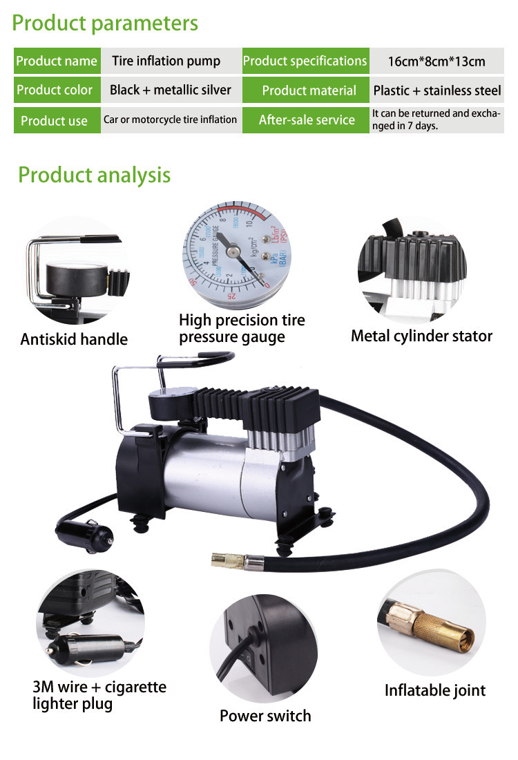 Wholesale heavy duty portable household emergency car tyre tire air compressor inflator pump for sale