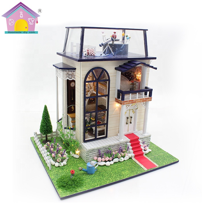 Miniature assembly <strong>1</strong> 24 mini educational craft sets large wooden dollhouse kits