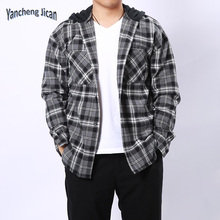 hot sale 100% cotton woven cotton plaid long sleeve <strong>mens</strong> casual <strong>shirts</strong> with hood
