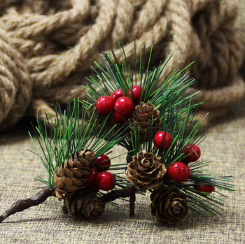 Pine needle Mini Christmas tree accessories gift box decoration simulation flower Christmas decoration ornaments table top decor