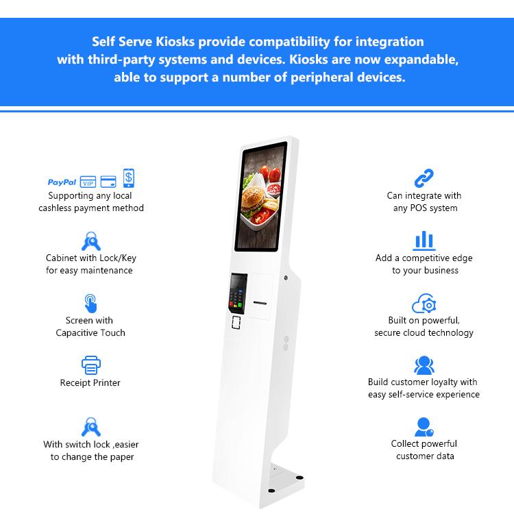 Taiyun Fast Food Restaurant kiosk Touch Screen Self Service Order Kiosks for Mcd